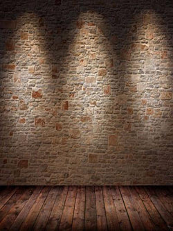 Katebackdrop:Dark brick wall photography backdrop wood floor light brown picture backdrops