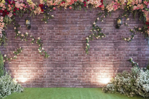 Katebackdrop:Kate Flower Brick Backdrop for wedding background