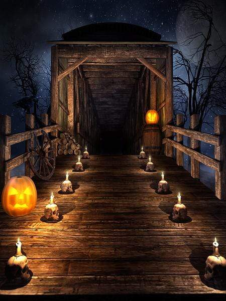 Katebackdrop:Kate Halloween Haunted House Backdrop bridge pumpkin
