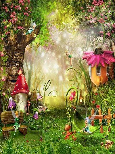 Katebackdrop:Kate Fantastic Forest Secenery Backdrop Children Tree