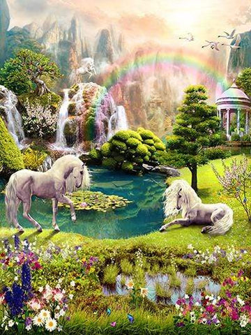 Katebackdrop Kate Animal Forest World White Horse Floral Scenery Fantasy Backdrop