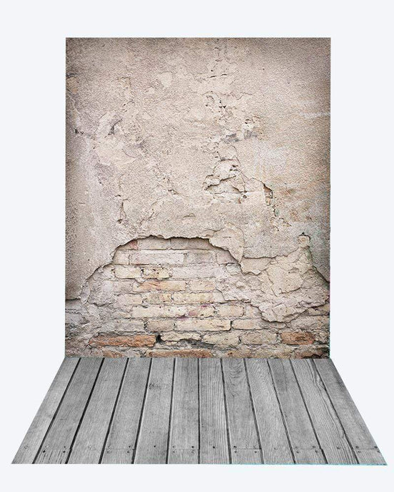 Katebackdrop¡êoKate Retro Damaged Cement Brick Backdrop+Gray Wooden Rubber floor mat