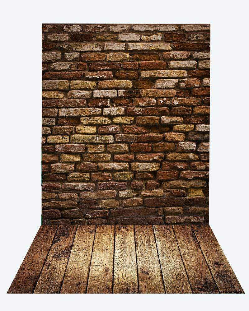 Katebackdrop¡êoKate Deep Brown Brick Wall Backdrop+Brown Wood Rubber floor mat