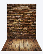 Katebackdrop:Kate Deep Brown Brick Wall Backdrop+Brown Wood Rubber floor mat
