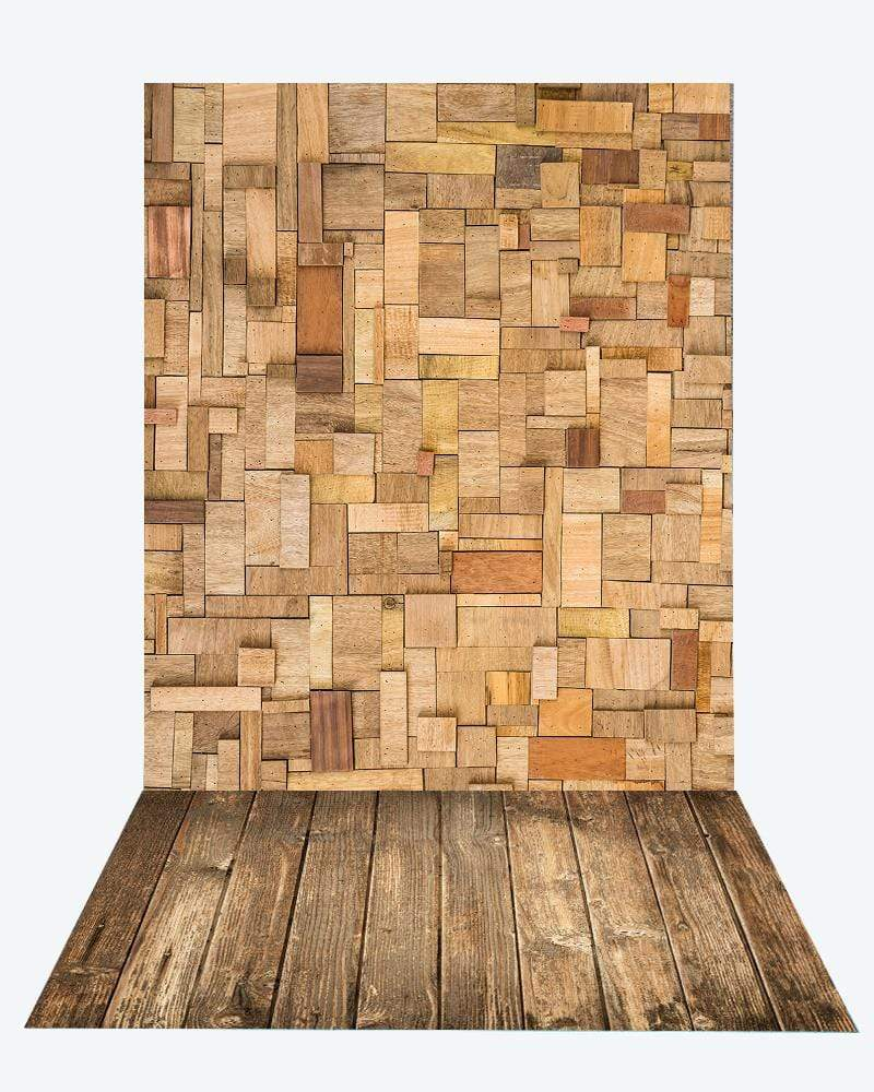 Katebackdrop¡êoKate Irregular wood planks backdrop+Brown wood rubber floor