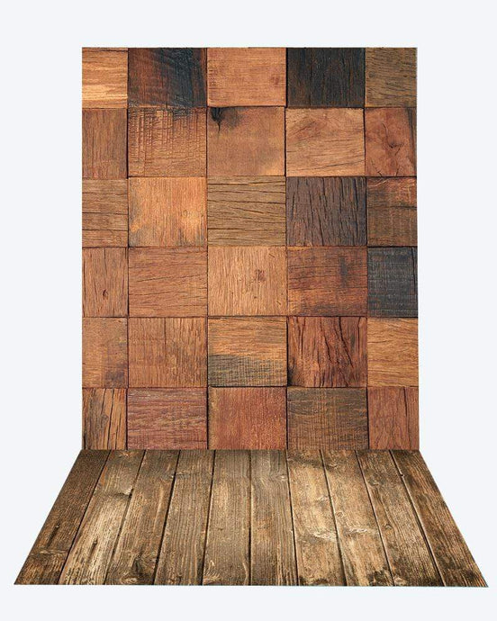 Katebackdrop£ºKate Square Wood Wall Backdrop+Brown Wood Rubber floor mat