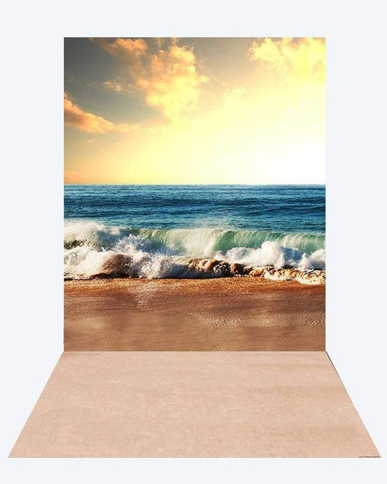Katebackdrop¡êoKate Summer Sea Dusk backdrop + Soft Summer Rubber Floor Mat