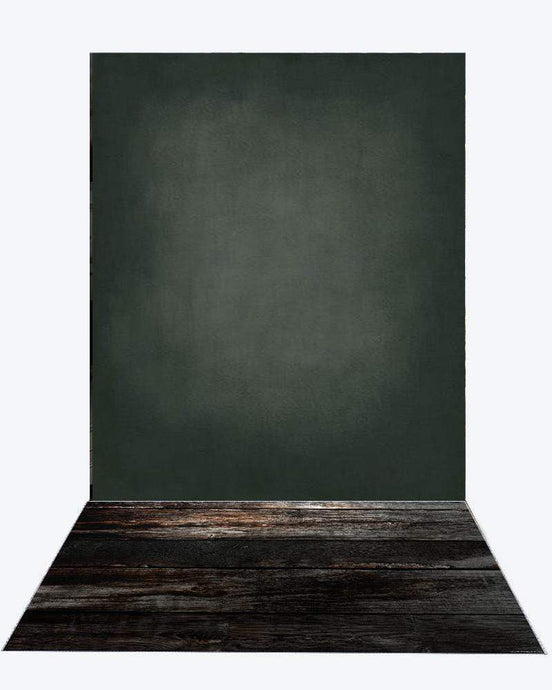 Katebackdrop£ºKate Cold Black, Litter Green And Light Middle Gray Textured Backdrop+Black Wood rubber floor mat