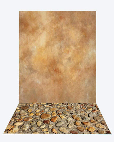 Katebackdrop:Kate Yellow Marble background Texture Backdrops For senior+Small Stones rubber floor mat