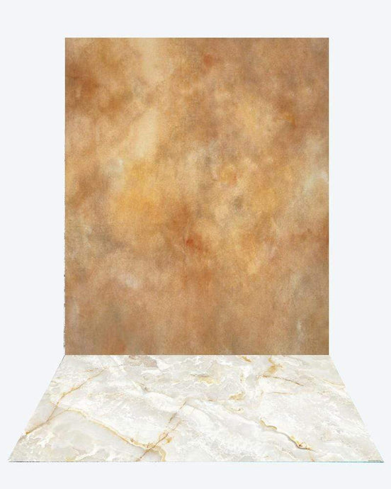 Katebackdrop:Kate lighter brown like texture backdrop photo studio+Kate White Marble Texture rubber floor mat