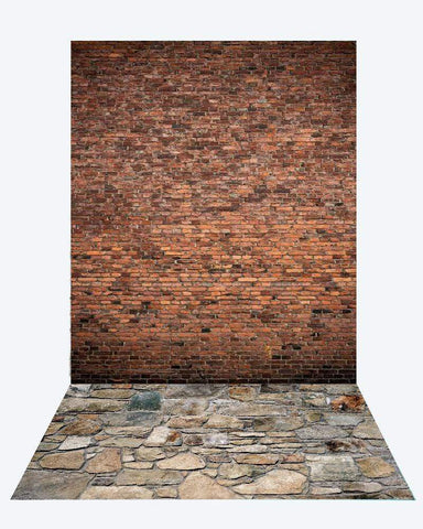 Kate Dark Brick backdrop + Brick Stone road Rubber Floor Mat