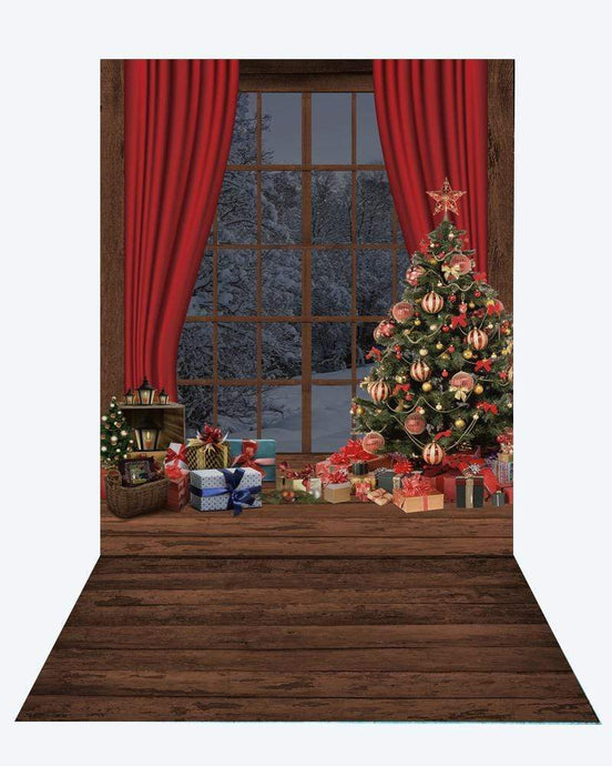 Katebackdrop¡êoKate Christmas Window Tree Photography +Brown wood floor mat