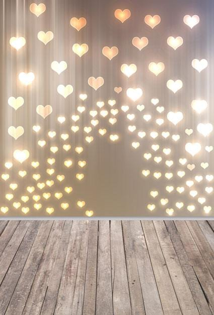 Load image into Gallery viewer, Kate Gold Heart Valentines Backdrop with wood part