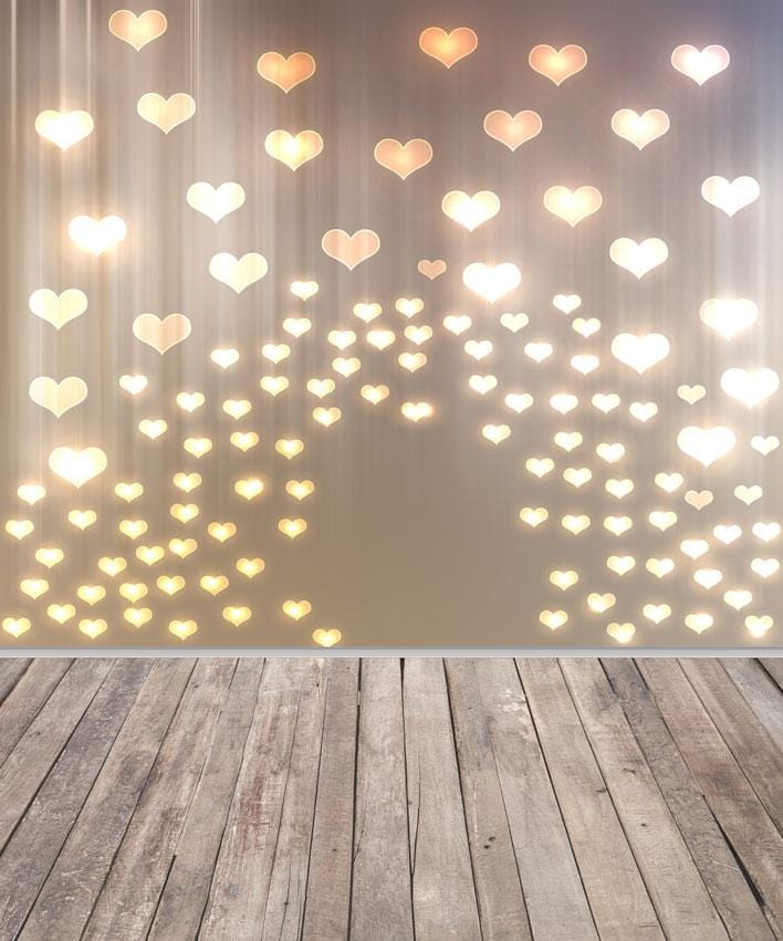 Kate Gold Heart Valentines Backdrop with wood part