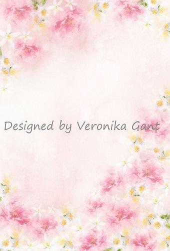 Katebackdrop:Kate Fine Art Watercolors Pink Flowers Backdrop Designed by Veronika Gant