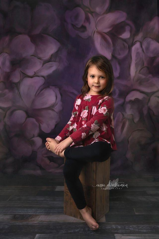 Load image into Gallery viewer, Katebackdrop:Kate Fine Art Purple Painting Flowers Backdrop for Photography