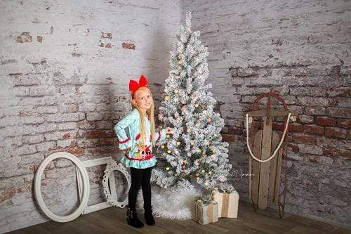 Kate Damaged Brick White Wall  Backdrop for Photography Designed by Pine Park Collection
