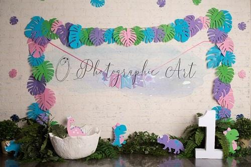 Kate Girly Dino Backdrop for Photography Designed by Jenna Onyia
