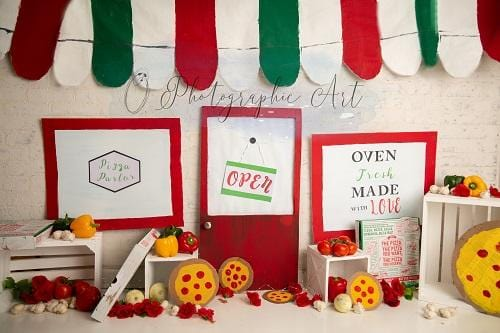 Kate Pizza Parlor Backdrop for Photography Designed by Jenna Onyia