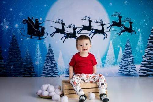 Load image into Gallery viewer, Kate Winter Christmas with Moon and Reindeer Backdrop for Photography