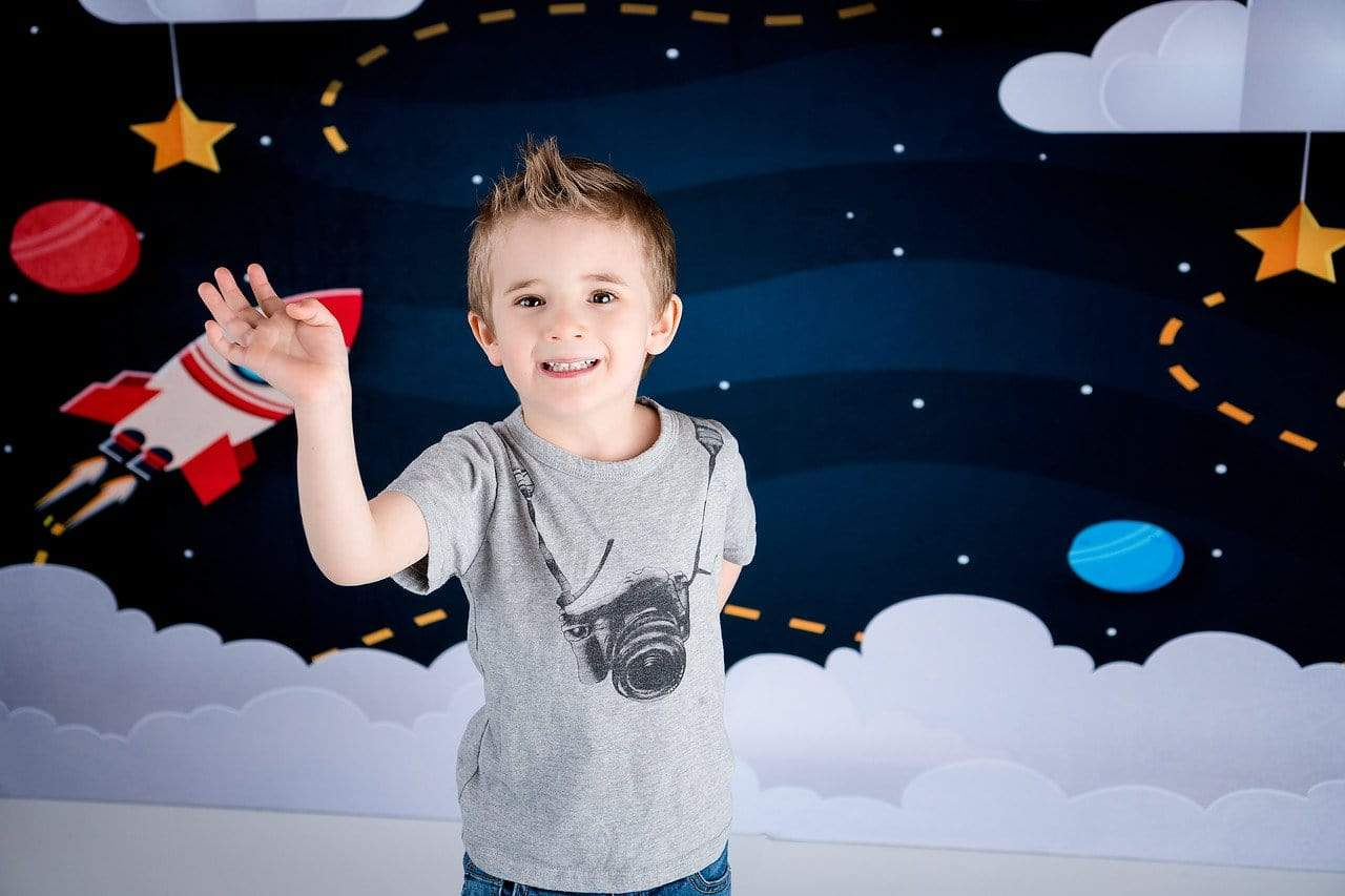 Load image into Gallery viewer, Kate Space with Stars Moons Rocket Children Backdrop for Photography Designed by Amanda Moffatt