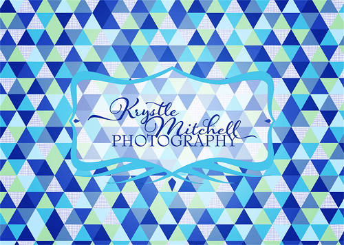 Load image into Gallery viewer, Kate Blue Triangle Seamless Pattern Backdrop Designed By Krystle Mitchell Photography