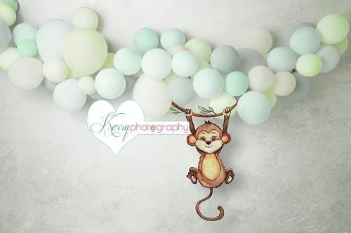 Kate Monkey Balloon Jungle Cake Smash Green Backdrop for Photography Designed by Kerry Anderson