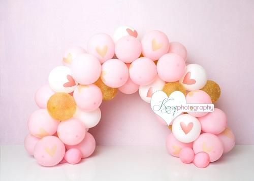 Katebackdrop£ºKate Pink and Gold Princess Balloon Arch Cake Smash Backdrop Designed by Kerry Anderson