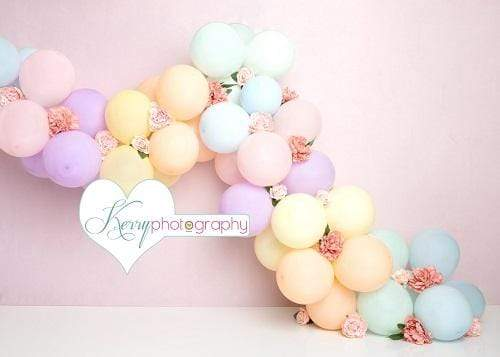 Katebackdrop:Kate Unicorn Rainbow Balloon Birthday Cake Smash Backdrop Designed by Kerry Anderson