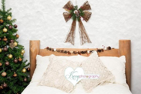 Kate Christmas Wood Bed with Macrame Tree Backdrop Designed by Kerry Anderson