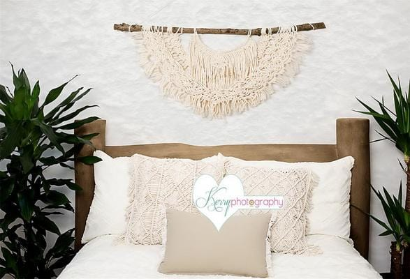 Kate Macrame Greenery Natural Log Wood Bed Backdrop Designed by Kerry Anderson