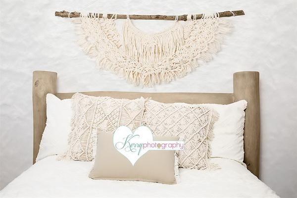 Kate Macrame Natural Cream Wood Bed Backdrop Designed by Kerry Anderson