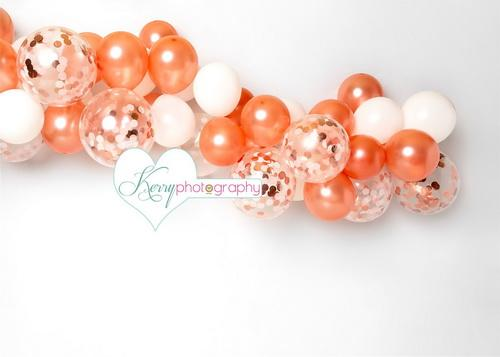 Katebackdrop£ºKate Rose Gold White Balloons Birthday Cake Smash Backdrop Designed by Kerry Anderson