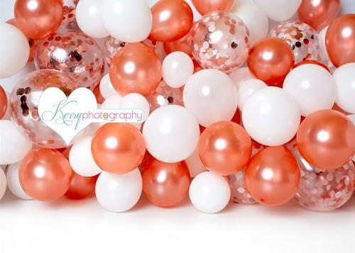 Katebackdrop£ºKate Birthday Rose Golden White Balloons Children Backdrop Designed by Kerry Anderson