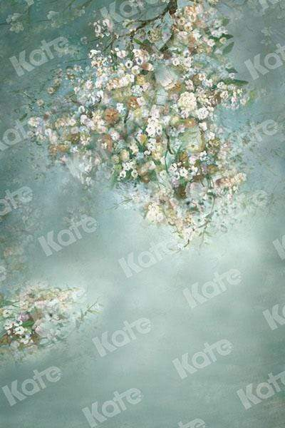 Kate Painting Like Green Spring Flowers backdrop printed Background