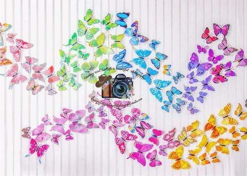 Kate Summer Rainbow Butterflies Backdrop for Photography Designed By Leann West