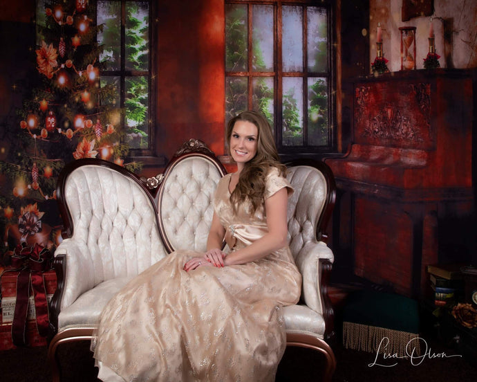 Kate Christmas Tree Photography Backdrop Piano Photo Background