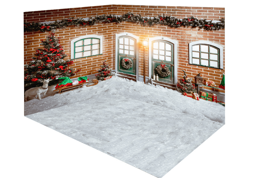 Katebackdrop£ºKate Christmas snow outside room set