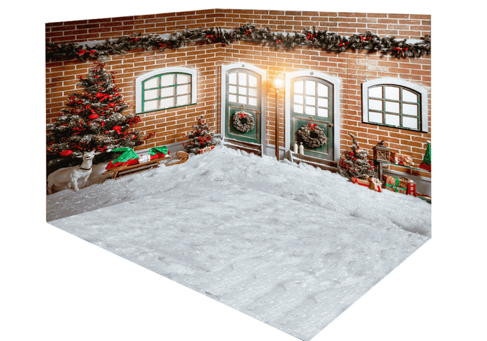 Katebackdrop:Kate Christmas snow outside room set