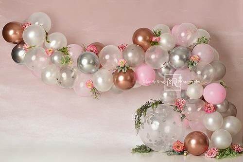 Kate Pink White and Rose Gold Floral Balloon Arch Backdrop Designed by Mandy Ringe Photography