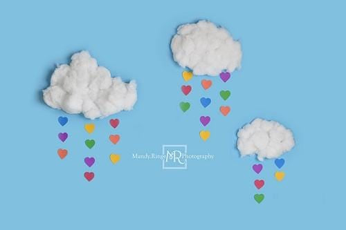 Kate Cake Smash Backdrop Rainbow Clouds Designed by Mandy Ringe Photography