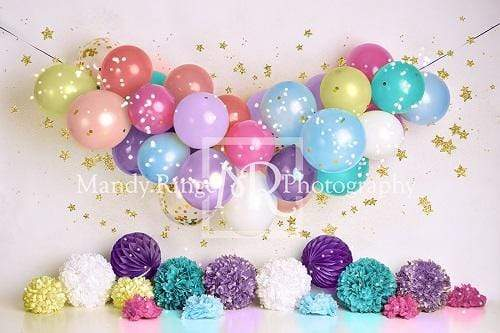 Katebackdrop:Kate Birthday Balloons and Stars Backdrop Designed By Mandy Ringe Photography