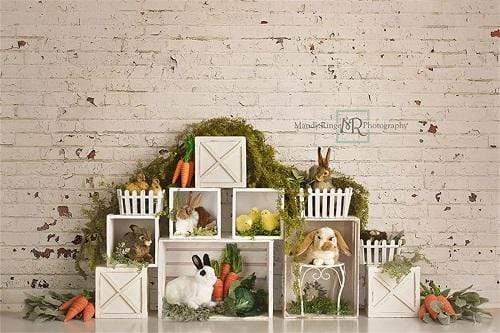 Kate Easter Bunnies with Brick Backdrop Designed By Mandy Ringe Photography