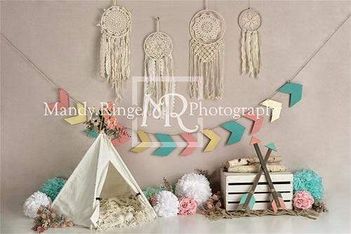 Load image into Gallery viewer, Kate Wild Boho Girl Birthday Backdrop Designed By Mandy Ringe Photography