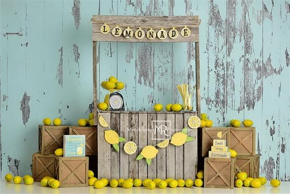 Kate Lemonade Stand with Blue Backdrop Designed by Mandy Ringe Photography