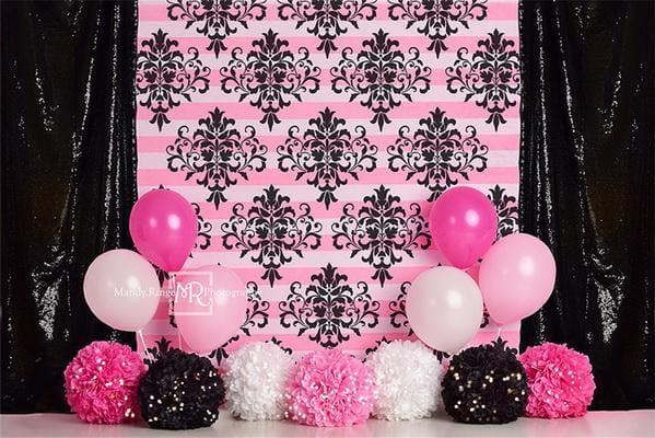 Kate Pink and Black Damask Birthday Backdrop Designed by Mandy Ringe Photography