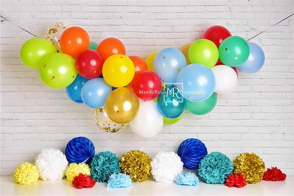 Kate Rainbow Birthday Balloon Garland Backdrop Designed by Mandy Ringe Photography