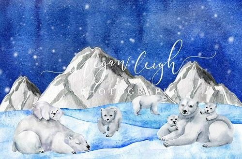 Kate Christmas Backdrop Polar Bears Designed by Megan Leigh Photography