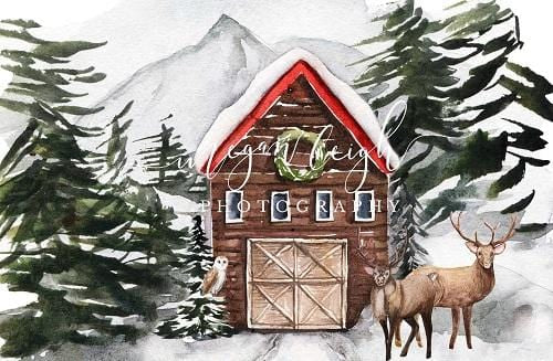 Kate Christmas Backdrop Snow Cabin Designed by Megan Leigh Photography