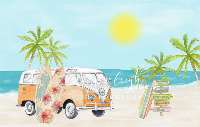 Kate Beach Van Summer Backdrop Designed by Megan Leigh Photography